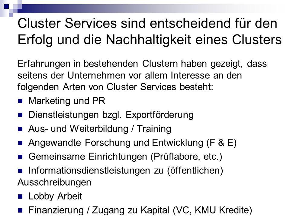 Cluster Services sind entscheidend für den Erfolg und die Nachhaltigkeit eines Clusters Erfahrungen in bestehenden Clustern haben gezeigt, dass seiten