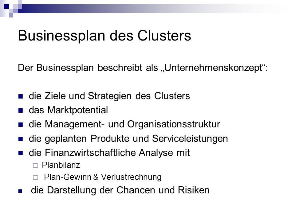 Businessplan des Clusters Der Businessplan beschreibt als Unternehmenskonzept: die Ziele und Strategien des Clusters das Marktpotential die Management