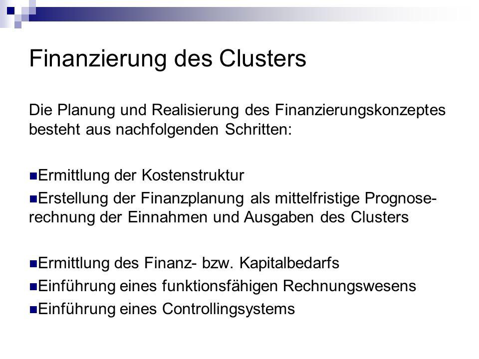 Finanzierung des Clusters Die Planung und Realisierung des Finanzierungskonzeptes besteht aus nachfolgenden Schritten: Ermittlung der Kostenstruktur E