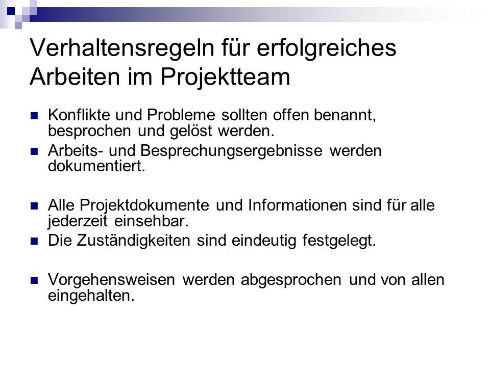Verhaltensregeln für erfolgreiches Arbeiten im Projektteam Konflikte und Probleme sollten offen benannt, besprochen und gelöst werden. Arbeits- und Be