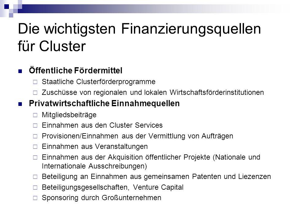 Die wichtigsten Finanzierungsquellen für Cluster Öffentliche Fördermittel Staatliche Clusterförderprogramme Zuschüsse von regionalen und lokalen Wirts