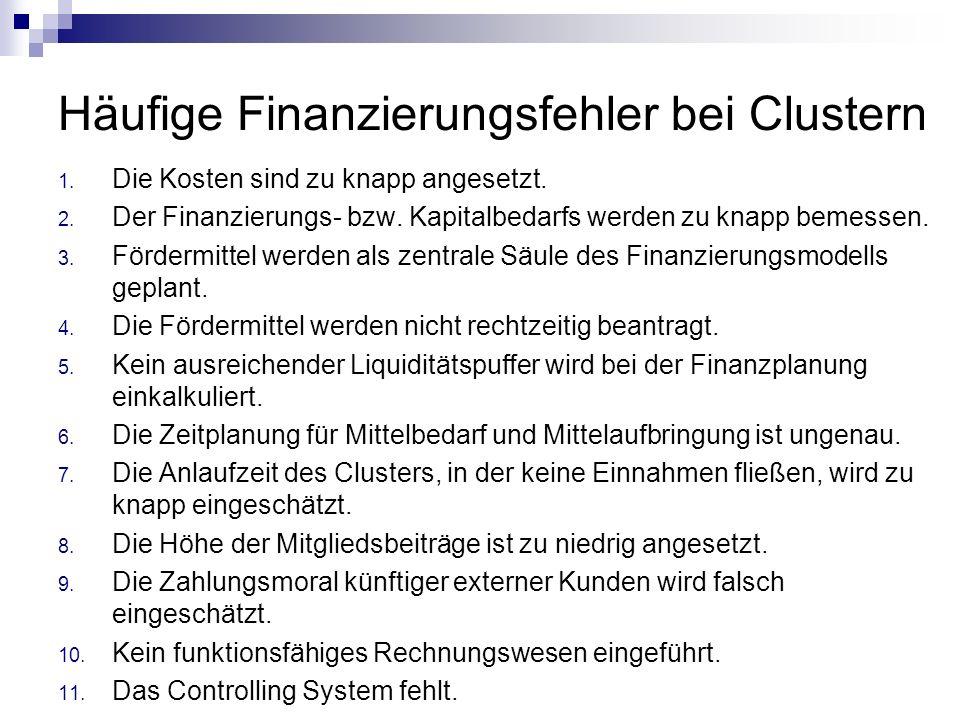 Häufige Finanzierungsfehler bei Clustern 1. Die Kosten sind zu knapp angesetzt. 2. Der Finanzierungs- bzw. Kapitalbedarfs werden zu knapp bemessen. 3.