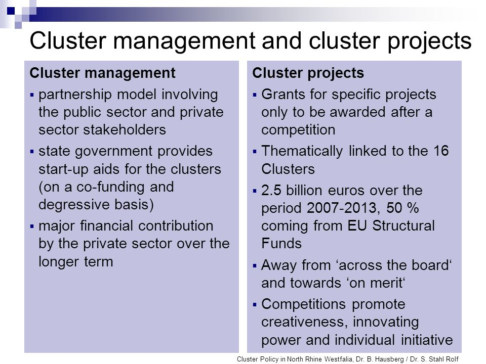 Cluster management and cluster projects Cluster management partnership model involving the public sector and private sector stakeholders state governm