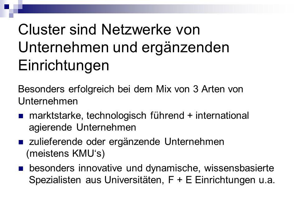 Cluster sind Netzwerke von Unternehmen und ergänzenden Einrichtungen Besonders erfolgreich bei dem Mix von 3 Arten von Unternehmen marktstarke, techno