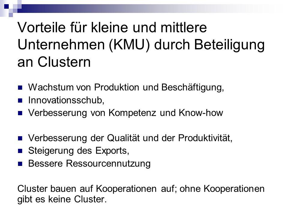 Vorteile für kleine und mittlere Unternehmen (KMU) durch Beteiligung an Clustern Wachstum von Produktion und Beschäftigung, Innovationsschub, Verbesse