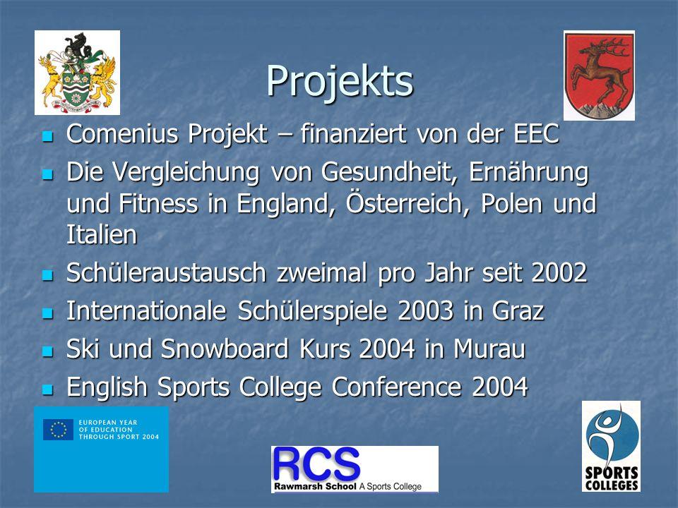 Projekts Comenius Projekt – finanziert von der EEC Comenius Projekt – finanziert von der EEC Die Vergleichung von Gesundheit, Ernährung und Fitness in England, Österreich, Polen und Italien Die Vergleichung von Gesundheit, Ernährung und Fitness in England, Österreich, Polen und Italien Schüleraustausch zweimal pro Jahr seit 2002 Schüleraustausch zweimal pro Jahr seit 2002 Internationale Schülerspiele 2003 in Graz Internationale Schülerspiele 2003 in Graz Ski und Snowboard Kurs 2004 in Murau Ski und Snowboard Kurs 2004 in Murau English Sports College Conference 2004 English Sports College Conference 2004