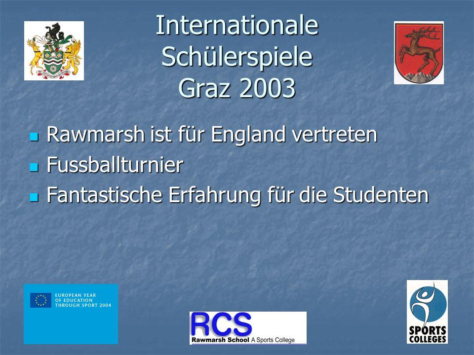 Internationale Schülerspiele Graz 2003 Rawmarsh ist für England vertreten Rawmarsh ist für England vertreten Fussballturnier Fussballturnier Fantastische Erfahrung für die Studenten Fantastische Erfahrung für die Studenten