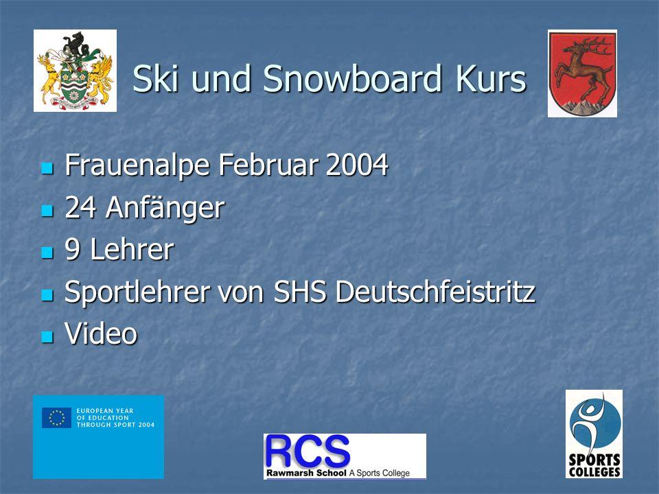 Ski und Snowboard Kurs Frauenalpe Februar 2004 Frauenalpe Februar 2004 24 Anfänger 24 Anfänger 9 Lehrer 9 Lehrer Sportlehrer von SHS Deutschfeistritz Sportlehrer von SHS Deutschfeistritz Video Video