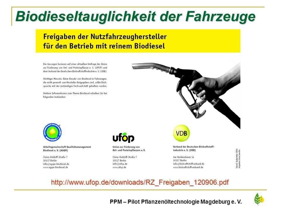 12 PPM – Pilot Pflanzenöltechnologie Magdeburg e. V. Biodieseltauglichkeit der Fahrzeuge http://www.ufop.de/downloads/RZ_Freigaben_120906.pdf