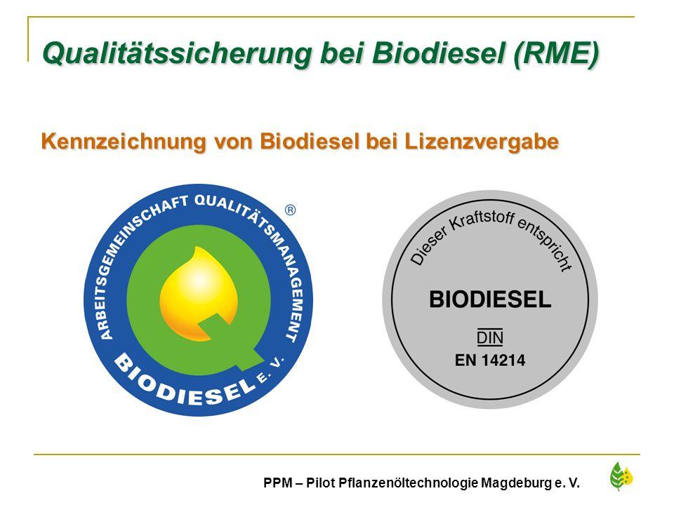 19 PPM – Pilot Pflanzenöltechnologie Magdeburg e. V. Qualitätssicherung bei Biodiesel (RME) Kennzeichnung von Biodiesel bei Lizenzvergabe