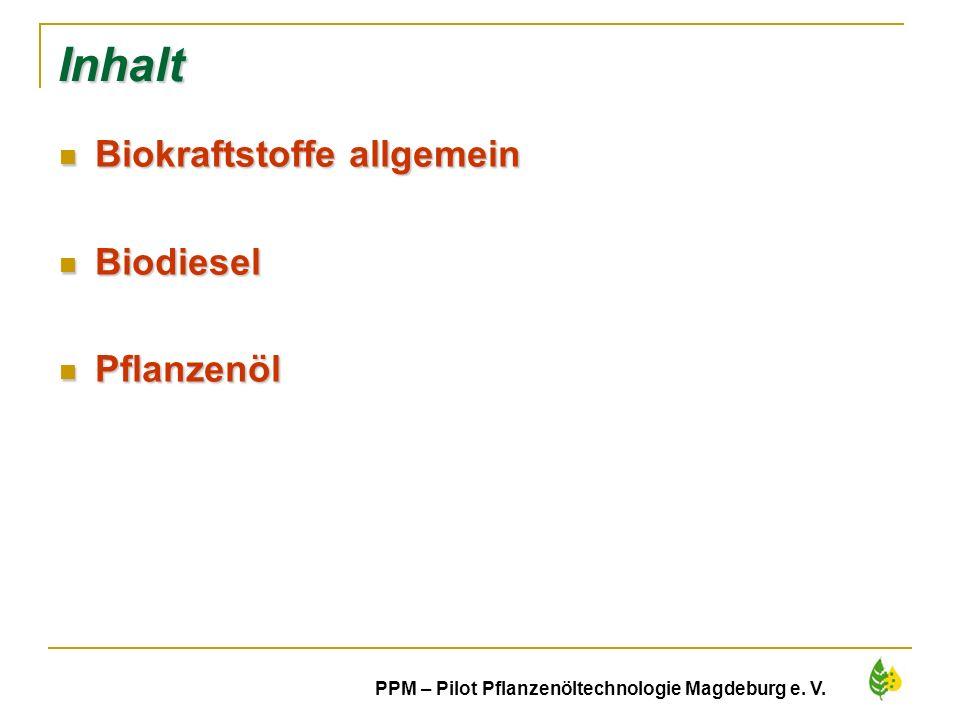 2 PPM – Pilot Pflanzenöltechnologie Magdeburg e. V. Inhalt Biokraftstoffe allgemein Biokraftstoffe allgemein Biodiesel Biodiesel Pflanzenöl Pflanzenöl