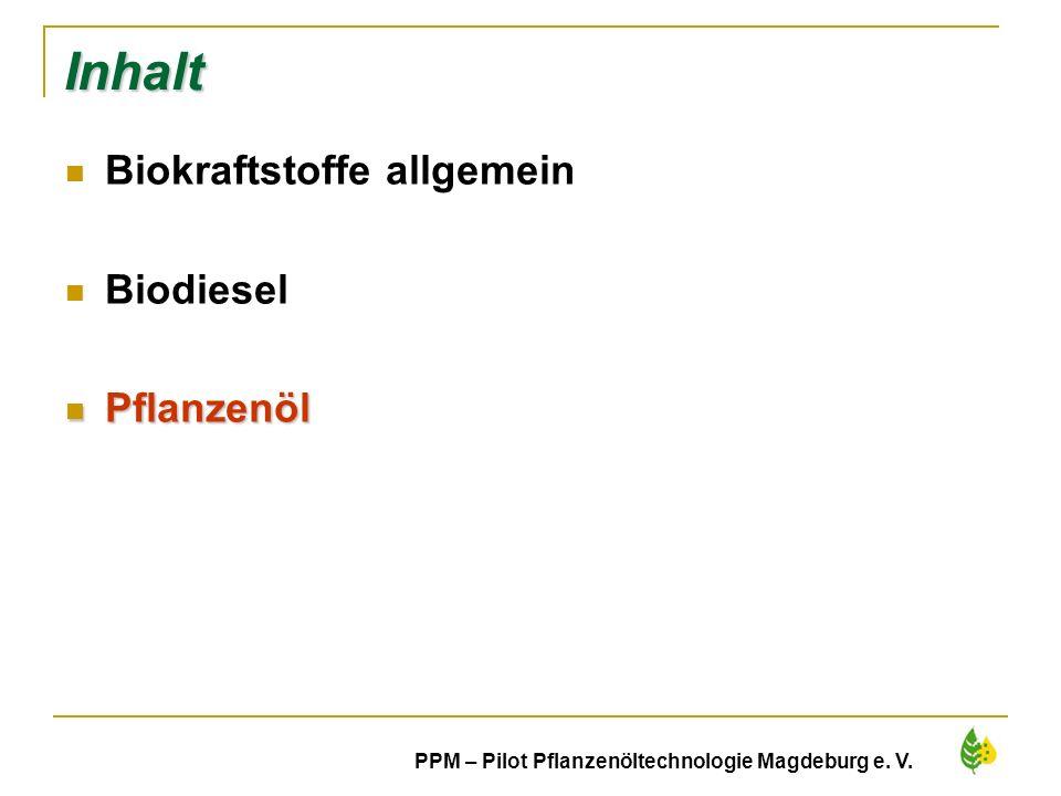 20 PPM – Pilot Pflanzenöltechnologie Magdeburg e. V. Inhalt Biokraftstoffe allgemein Biodiesel Pflanzenöl Pflanzenöl