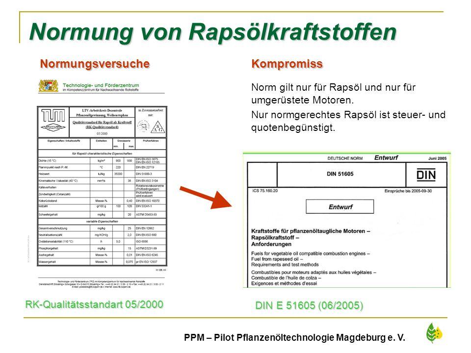 24 PPM – Pilot Pflanzenöltechnologie Magdeburg e. V. Normung von Rapsölkraftstoffen RK-Qualitätsstandart 05/2000 DIN E 51605 (06/2005) Normungsversuch