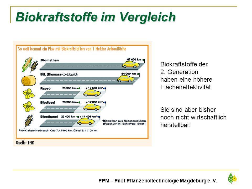6 PPM – Pilot Pflanzenöltechnologie Magdeburg e. V. Biokraftstoffe im Vergleich Biokraftstoffe der 2. Generation haben eine höhere Flächeneffektivität
