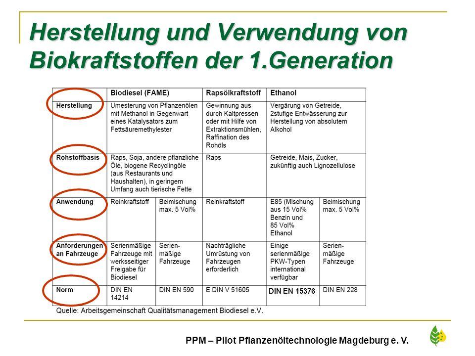 7 PPM – Pilot Pflanzenöltechnologie Magdeburg e. V. Herstellung und Verwendung von Biokraftstoffen der 1.Generation DIN EN 15376