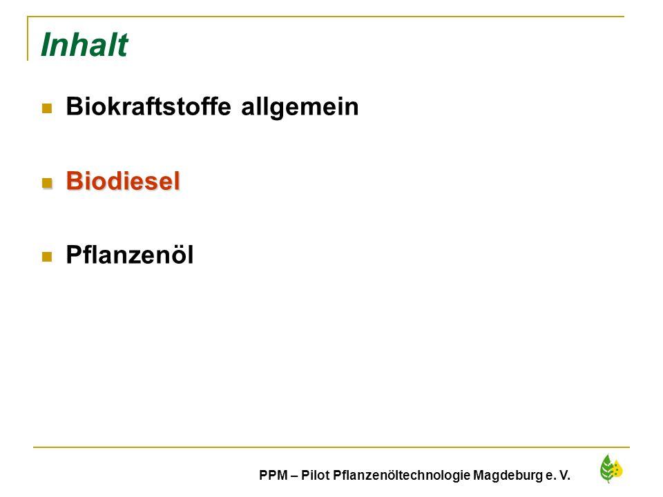 9 Inhalt Biokraftstoffe allgemein Biodiesel Biodiesel Pflanzenöl