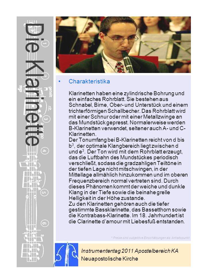 Instrumententag 2011 Apostelbereich KA Neuapostolische Kirche * Preise sind subjektive Einschätzungen als Anhaltspunkt Die Klarinette Charakteristika
