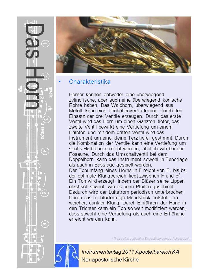 Instrumententag 2011 Apostelbereich KA Neuapostolische Kirche * Preise sind subjektive Einschätzungen als Anhaltspunkt Das Horn Charakteristika Hörner
