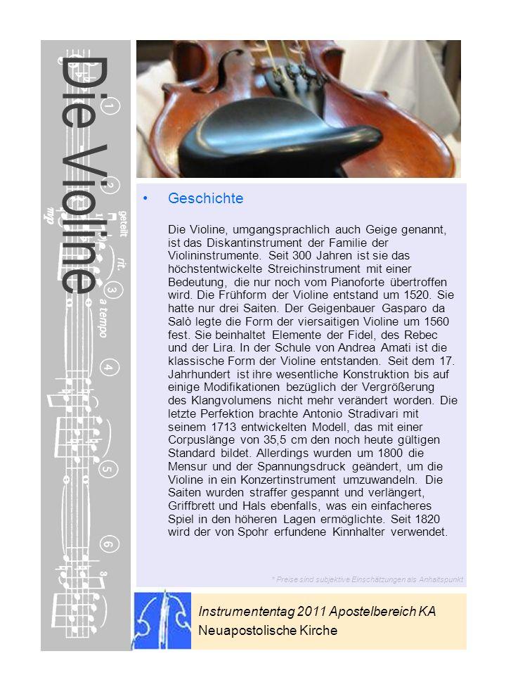 Instrumententag 2011 Apostelbereich KA Neuapostolische Kirche * Preise sind subjektive Einschätzungen als Anhaltspunkt Die Violine Geschichte Die Viol