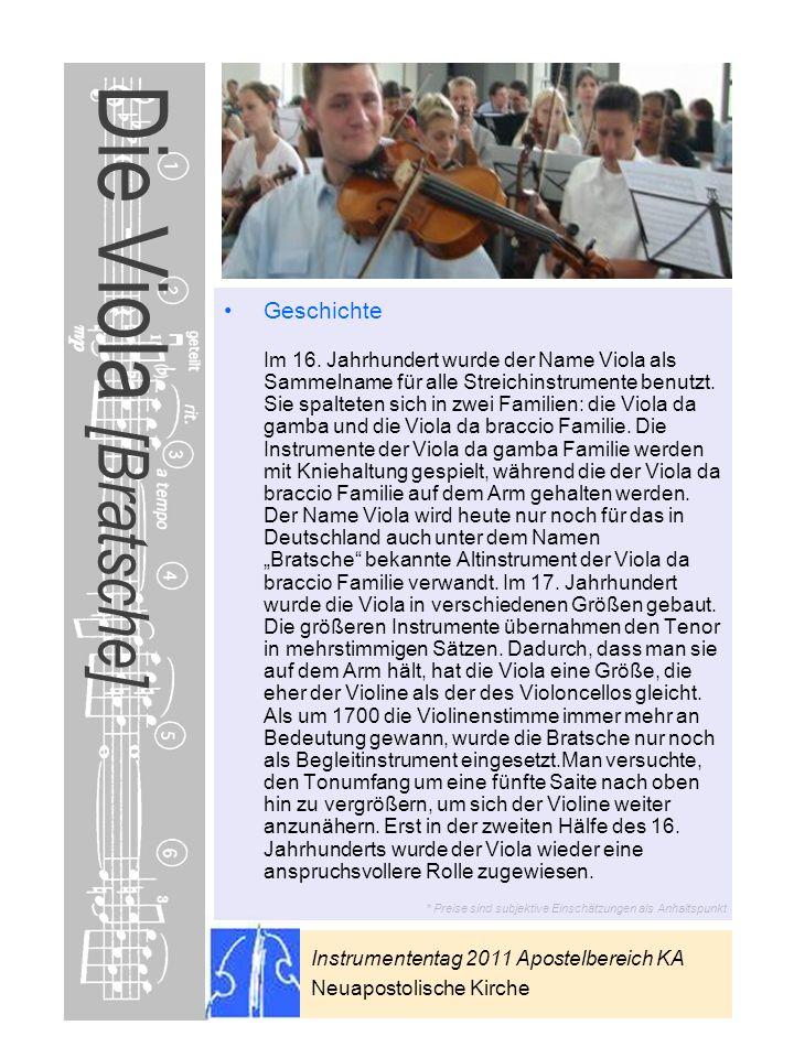 Instrumententag 2011 Apostelbereich KA Neuapostolische Kirche * Preise sind subjektive Einschätzungen als Anhaltspunkt Die Viola [Bratsche] Geschichte