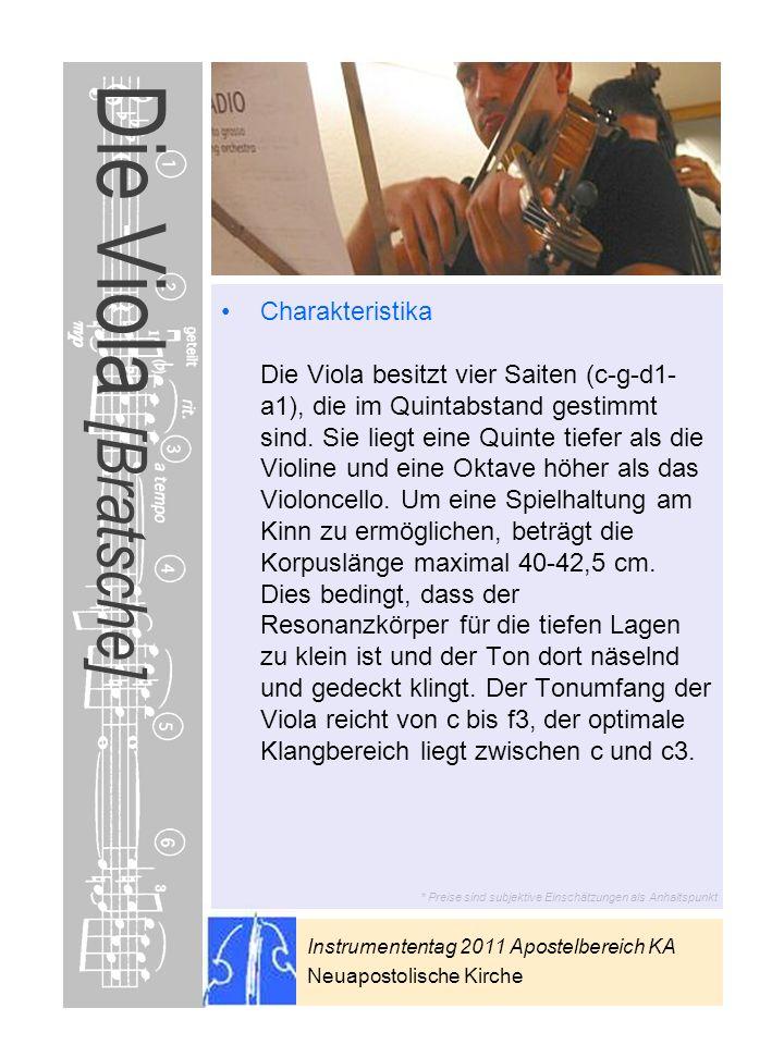 Instrumententag 2011 Apostelbereich KA Neuapostolische Kirche * Preise sind subjektive Einschätzungen als Anhaltspunkt Die Viola [Bratsche] Charakteri