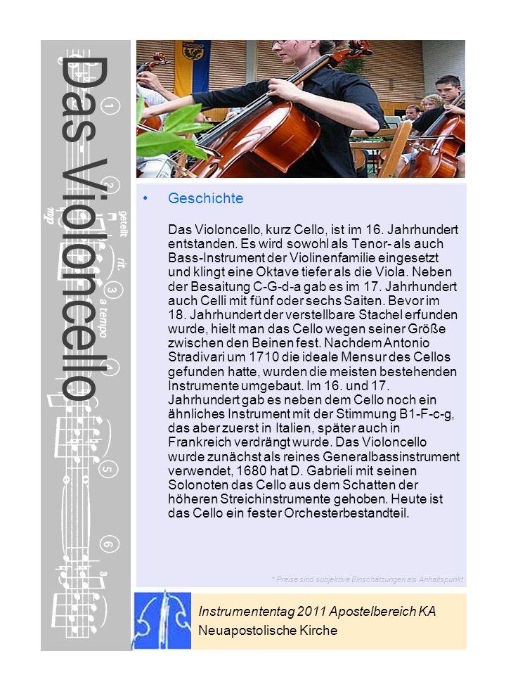 Instrumententag 2011 Apostelbereich KA Neuapostolische Kirche * Preise sind subjektive Einschätzungen als Anhaltspunkt Das Violoncello Geschichte Das
