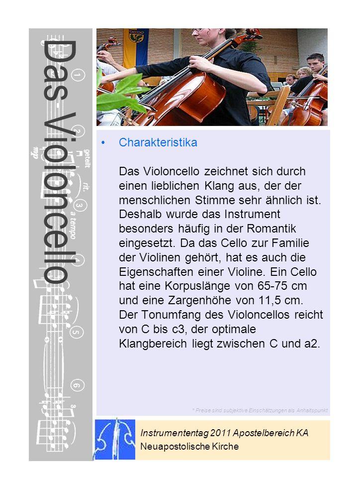Instrumententag 2011 Apostelbereich KA Neuapostolische Kirche * Preise sind subjektive Einschätzungen als Anhaltspunkt Das Violoncello Charakteristika