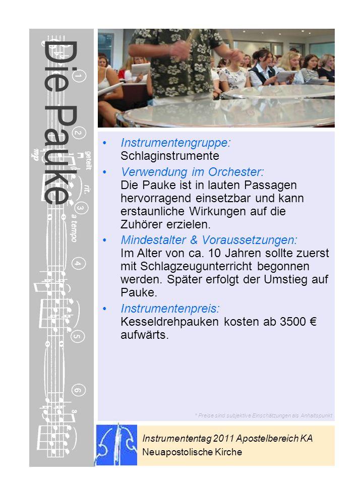 Instrumententag 2011 Apostelbereich KA Neuapostolische Kirche * Preise sind subjektive Einschätzungen als Anhaltspunkt Die Pauke Instrumentengruppe: S