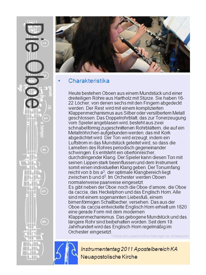 Instrumententag 2011 Apostelbereich KA Neuapostolische Kirche * Preise sind subjektive Einschätzungen als Anhaltspunkt Die Oboe Charakteristika Heute