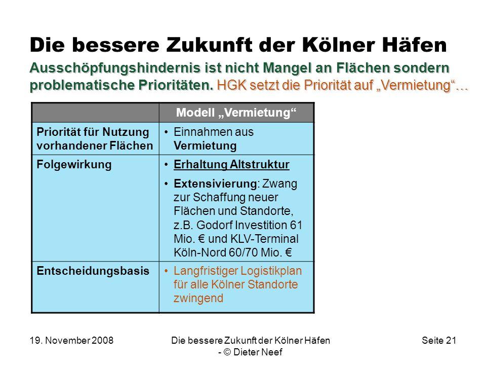 19. November 2008Die bessere Zukunft der Kölner Häfen - © Dieter Neef Seite 21 Die bessere Zukunft der Kölner Häfen Modell Vermietung Priorität für Nu