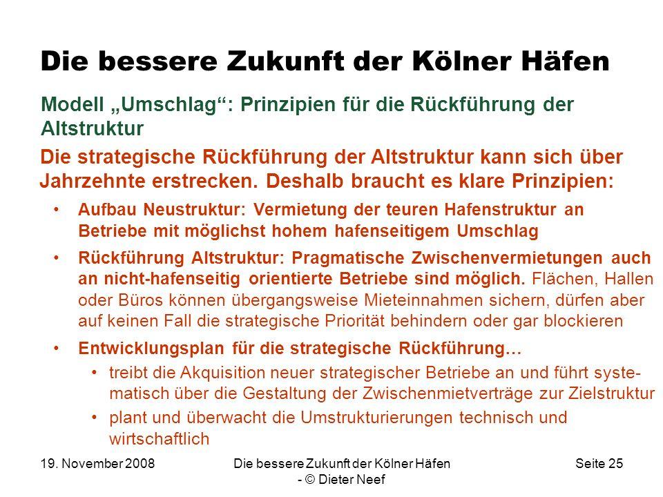 19. November 2008Die bessere Zukunft der Kölner Häfen - © Dieter Neef Seite 25 Die bessere Zukunft der Kölner Häfen Die strategische Rückführung der A