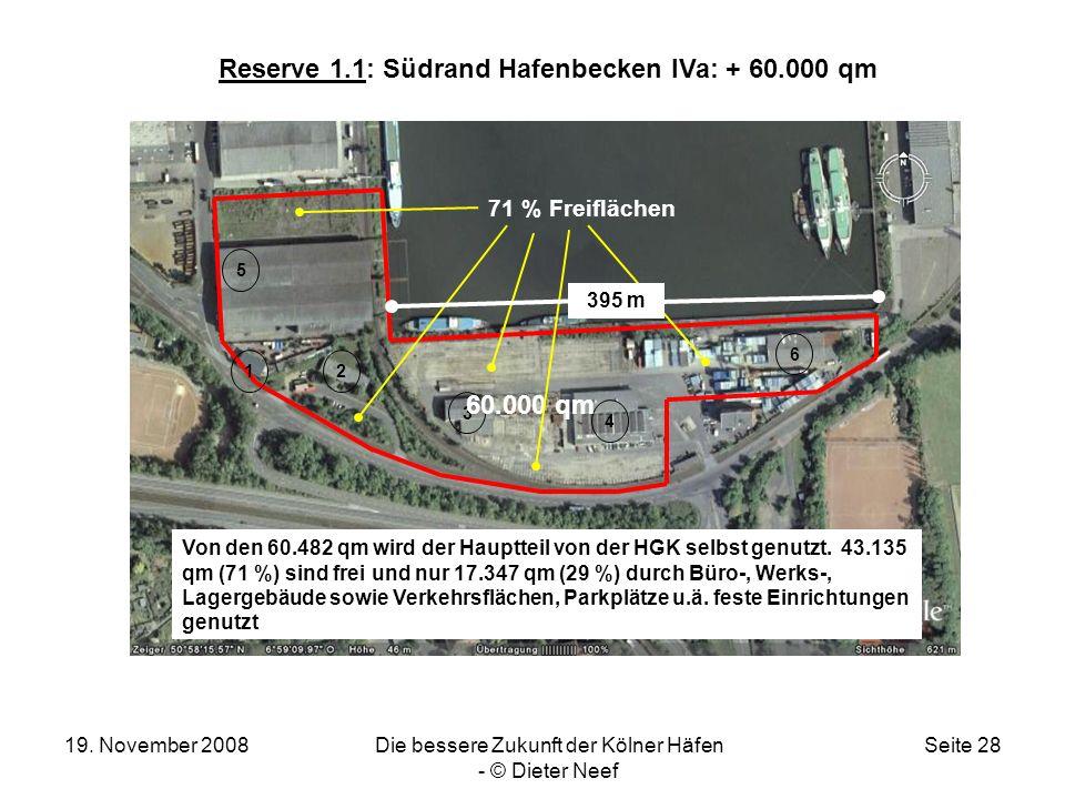 19. November 2008Die bessere Zukunft der Kölner Häfen - © Dieter Neef Seite 28 Reserve 1.1: Südrand Hafenbecken IVa: + 60.000 qm 12 3 4 5 6 60.000 qm
