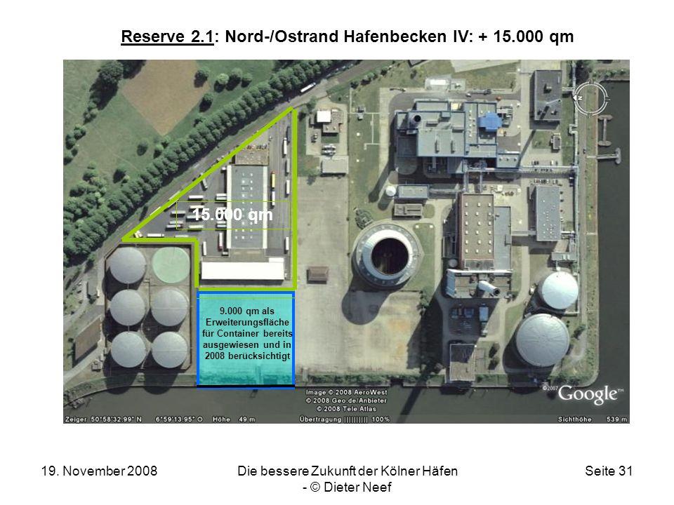 19. November 2008Die bessere Zukunft der Kölner Häfen - © Dieter Neef Seite 31 Reserve 2.1: Nord-/Ostrand Hafenbecken IV: + 15.000 qm 9.000 qm als Erw