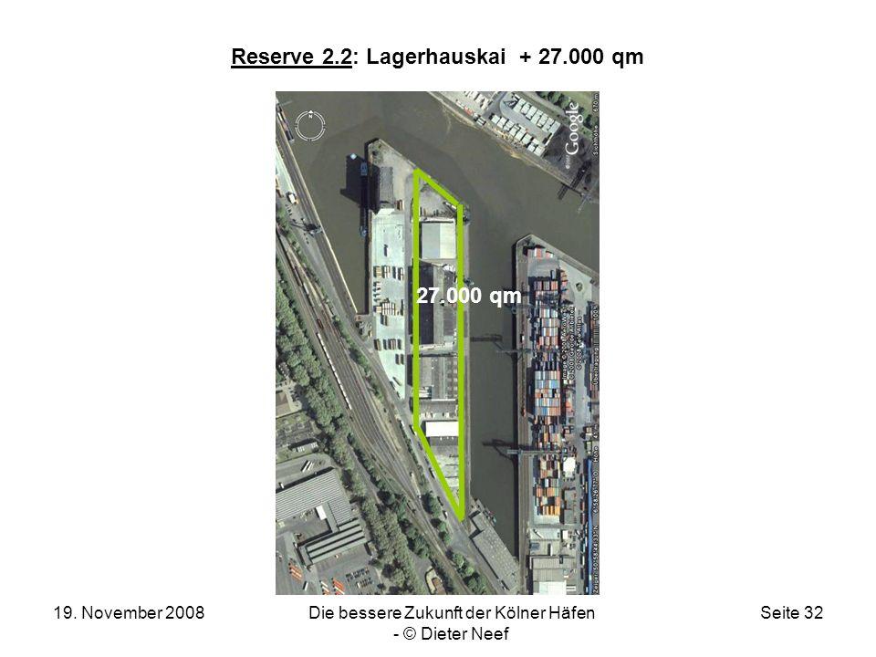 19. November 2008Die bessere Zukunft der Kölner Häfen - © Dieter Neef Seite 32 Reserve 2.2: Lagerhauskai + 27.000 qm 27.000 qm