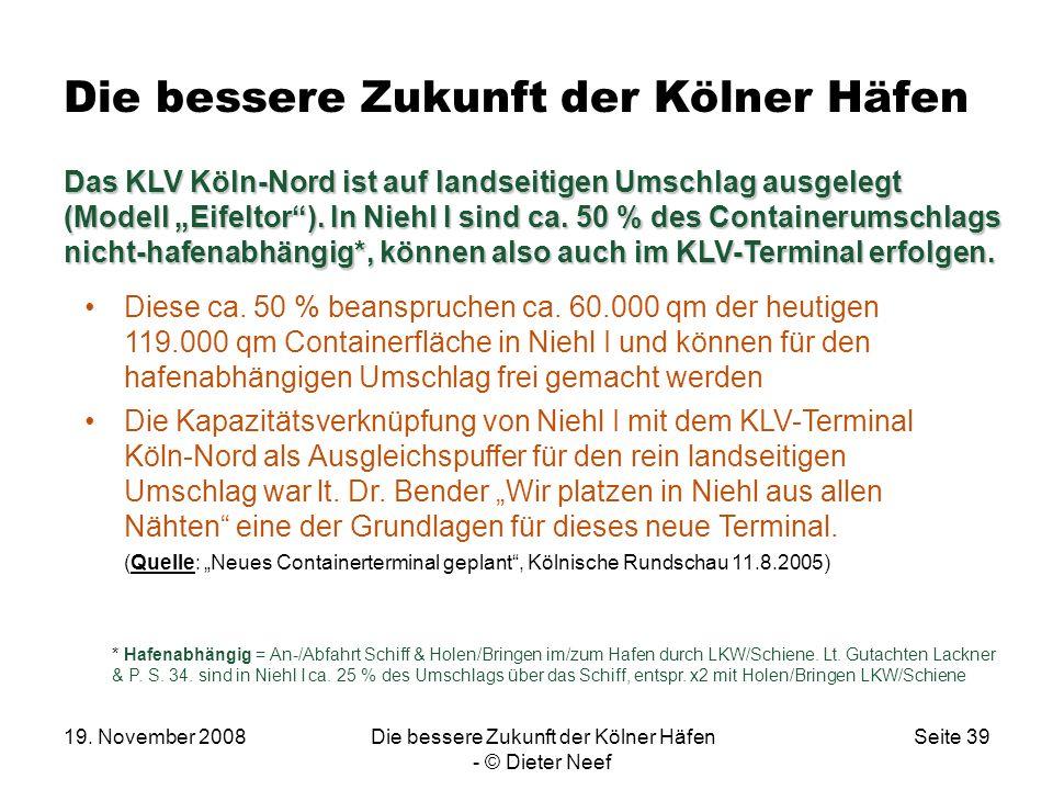 19. November 2008Die bessere Zukunft der Kölner Häfen - © Dieter Neef Seite 39 Die bessere Zukunft der Kölner Häfen Das KLV Köln-Nord ist auf landseit