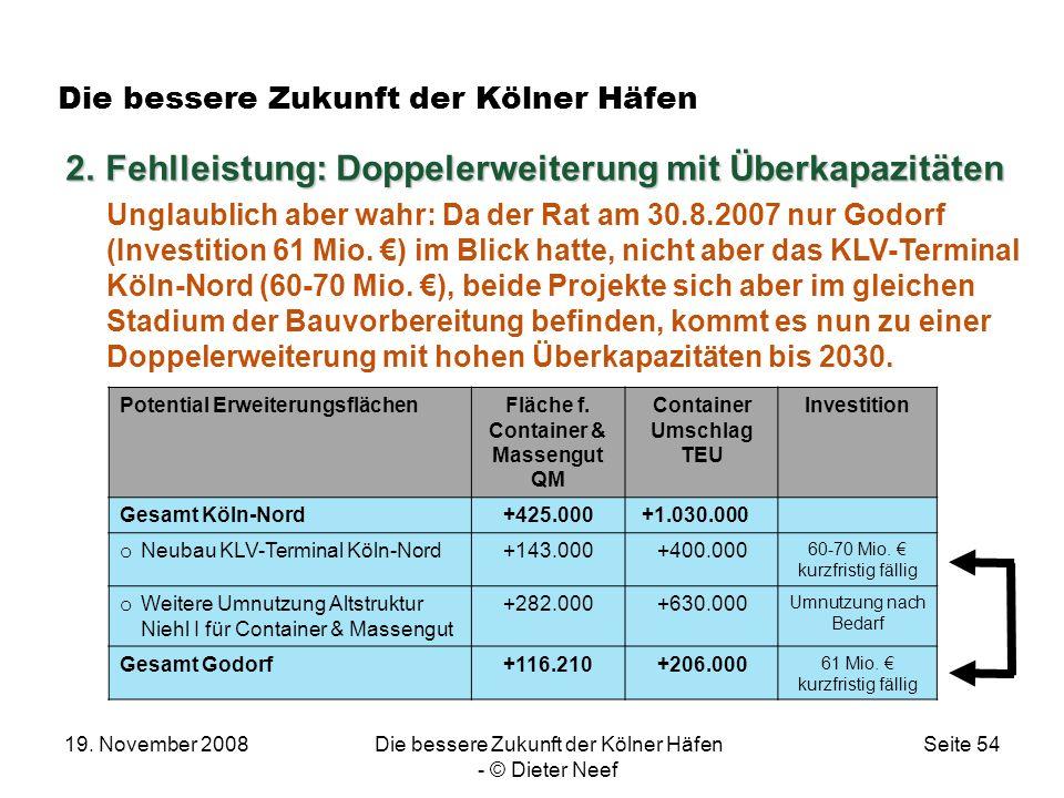 19. November 2008Die bessere Zukunft der Kölner Häfen - © Dieter Neef Seite 54 Die bessere Zukunft der Kölner Häfen 2.Fehlleistung: Doppelerweiterung