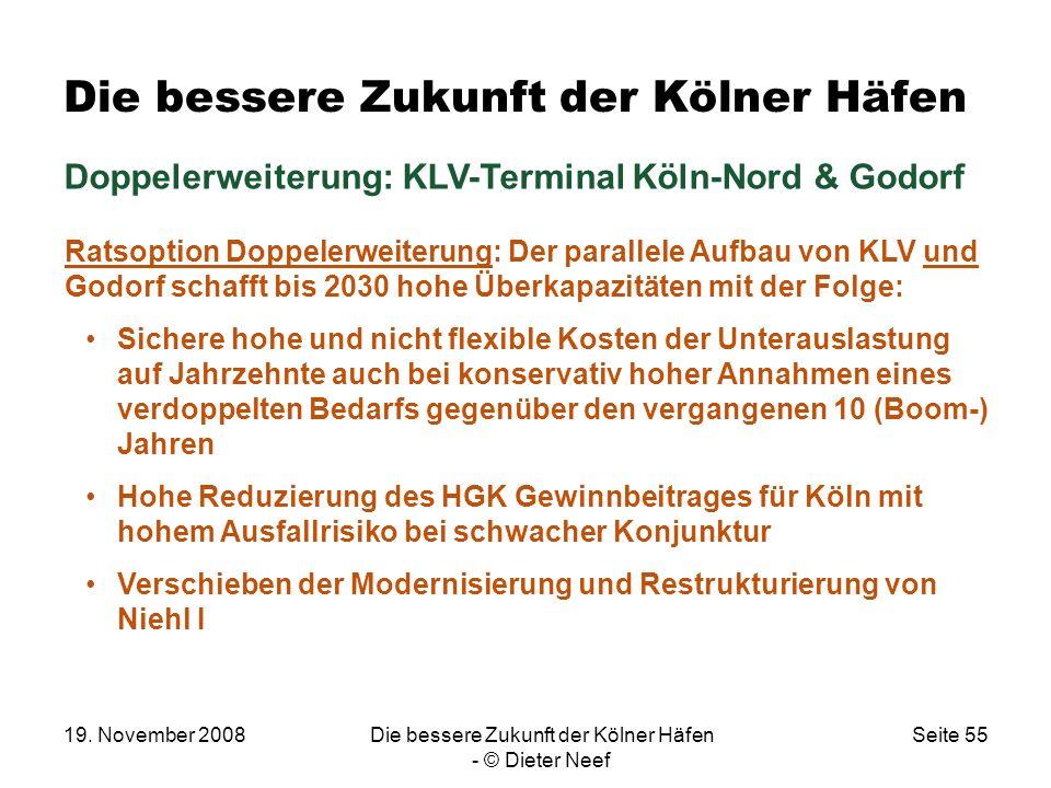 19. November 2008Die bessere Zukunft der Kölner Häfen - © Dieter Neef Seite 55 Die bessere Zukunft der Kölner Häfen Doppelerweiterung: KLV-Terminal Kö