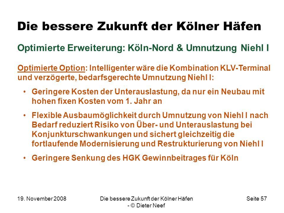 19. November 2008Die bessere Zukunft der Kölner Häfen - © Dieter Neef Seite 57 Die bessere Zukunft der Kölner Häfen Optimierte Erweiterung: Köln-Nord