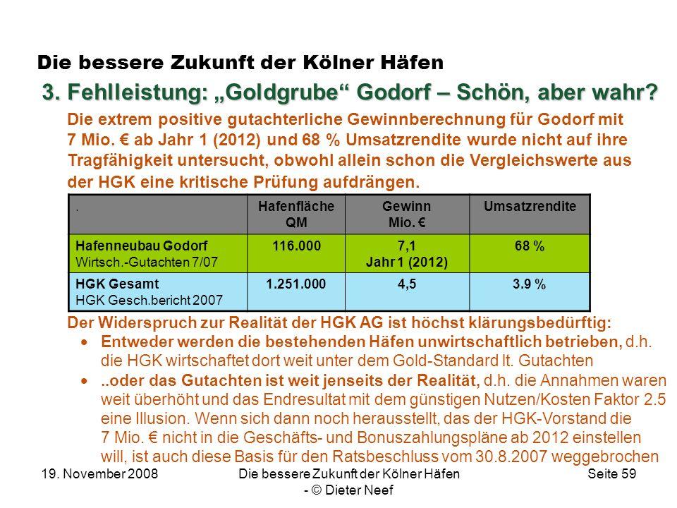 19. November 2008Die bessere Zukunft der Kölner Häfen - © Dieter Neef Seite 59 Die bessere Zukunft der Kölner Häfen Der Widerspruch zur Realität der H