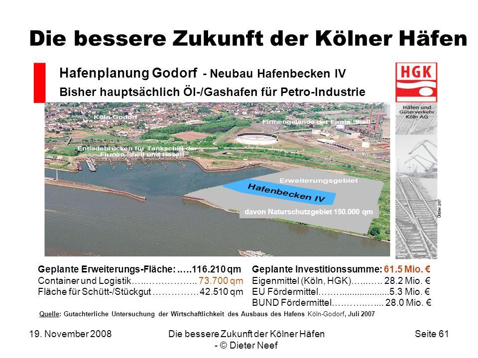 19. November 2008Die bessere Zukunft der Kölner Häfen - © Dieter Neef Seite 61 Die bessere Zukunft der Kölner Häfen. davon Naturschutzgebiet 150.000 q
