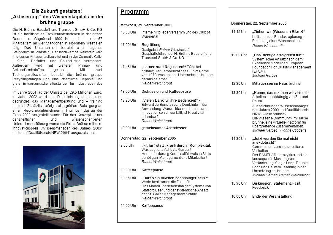 Die Zukunft gestalten! Aktivierung des Wissenskapitals in der brühne gruppe Programm Mittwoch, 21. September 2005 15.30 UhrInterne Mitgliederversammlu