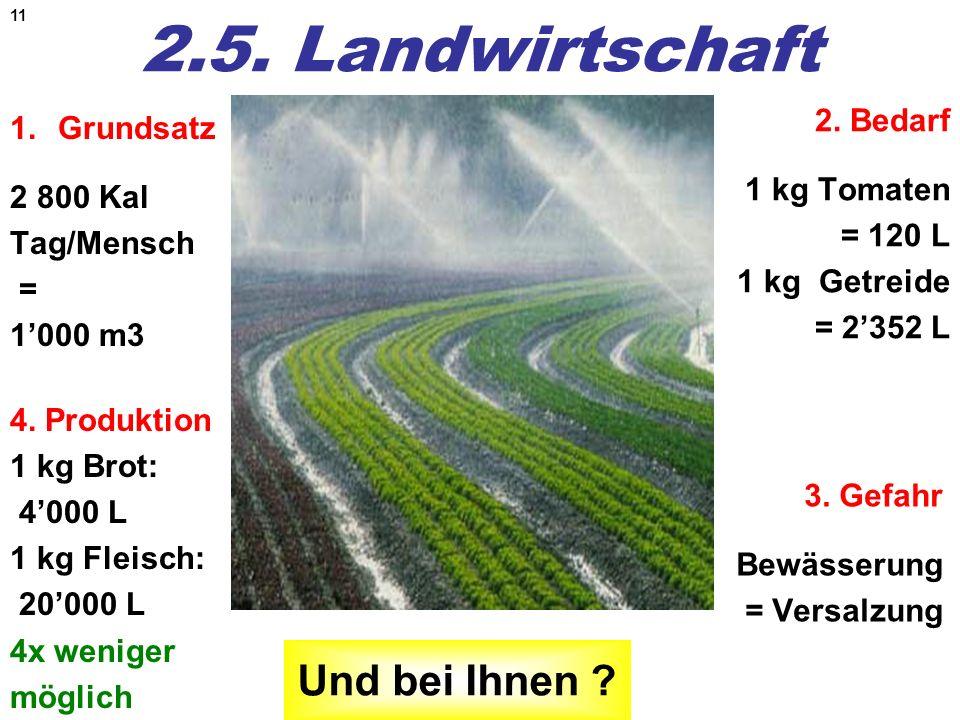11 2.5. Landwirtschaft 1.Grundsatz 2 800 Kal Tag/Mensch = 1000 m3 2. Bedarf 1 kg Tomaten = 120 L 1 kg Getreide = 2352 L 3. Gefahr Bewässerung = Versal