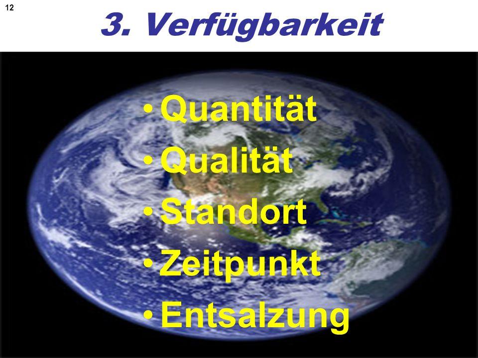 12 3. Verfügbarkeit Quantität Qualität Standort Zeitpunkt Entsalzung