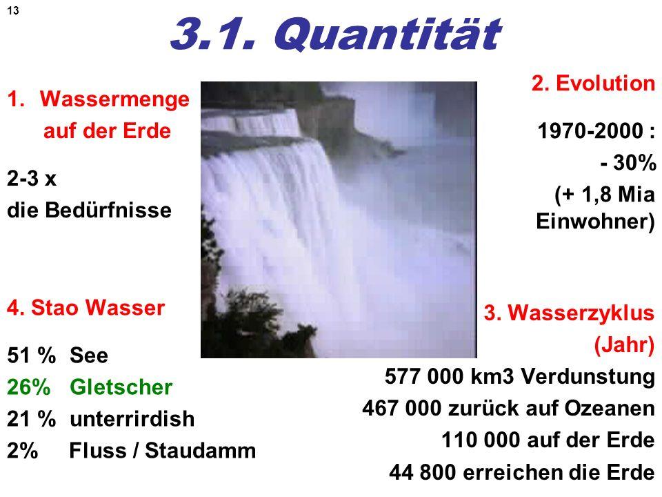 13 3.1. Quantität 1.Wassermenge auf der Erde 2-3 x die Bedürfnisse 3. Wasserzyklus (Jahr) 577 000 km3 Verdunstung 467 000 zurück auf Ozeanen 110 000 a
