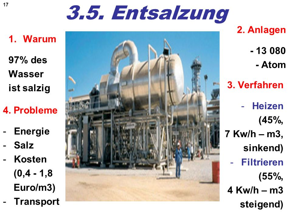 17 3.5. Entsalzung 1.Warum 97% des Wasser ist salzig 2. Anlagen - 13 080 - Atom 4. Probleme -Energie -Salz -Kosten (0,4 - 1,8 Euro/m3) -Transport 3. V