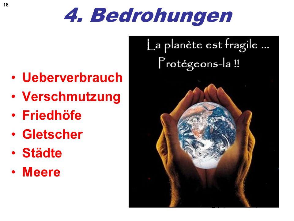 18 4. Bedrohungen Ueberverbrauch Verschmutzung Friedhöfe Gletscher Städte Meere
