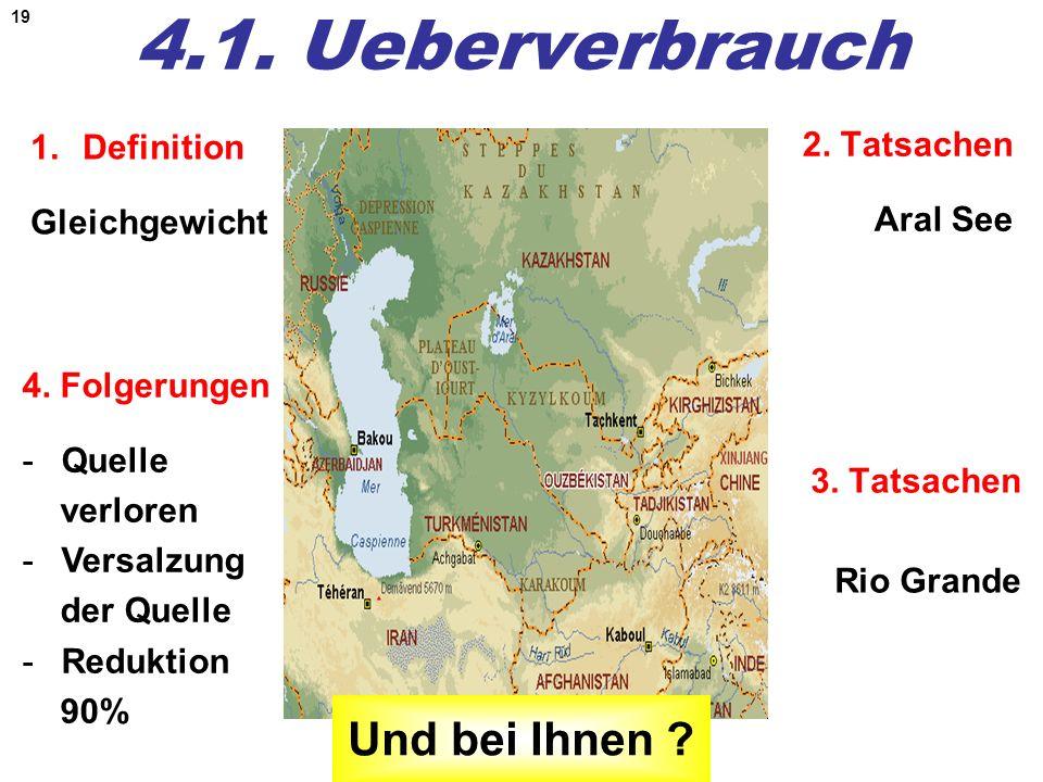 19 4.1. Ueberverbrauch 1.Definition Gleichgewicht 2. Tatsachen Aral See 3. Tatsachen Rio Grande Und bei Ihnen ? 4. Folgerungen -Quelle verloren -Versa