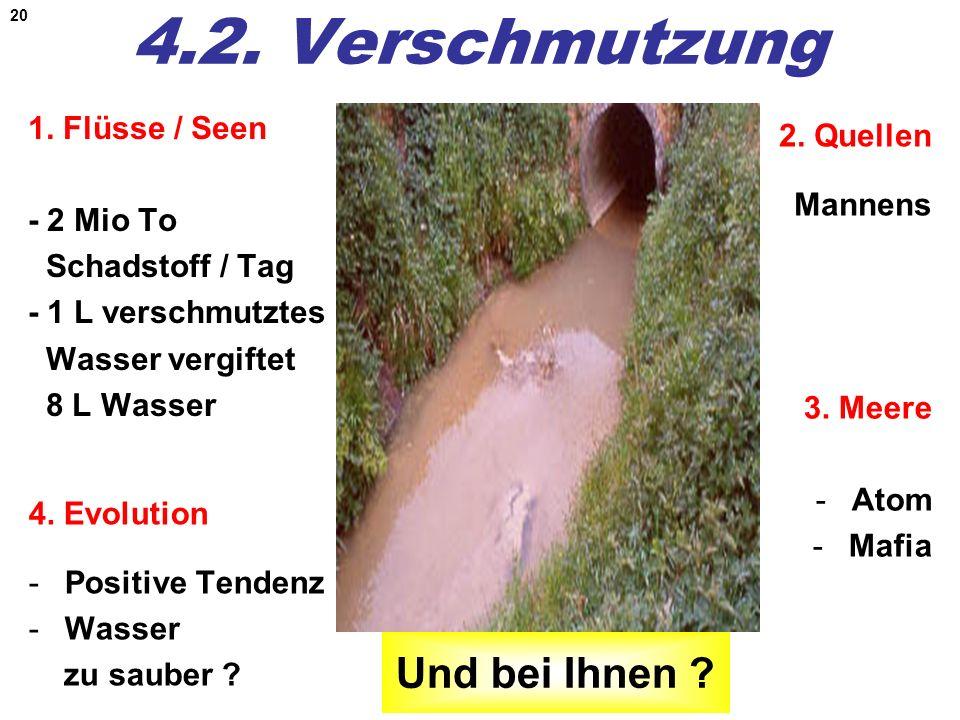 20 4.2. Verschmutzung 2. Quellen Mannens 1. Flüsse / Seen - 2 Mio To Schadstoff / Tag - 1 L verschmutztes Wasser vergiftet 8 L Wasser 4. Evolution -Po