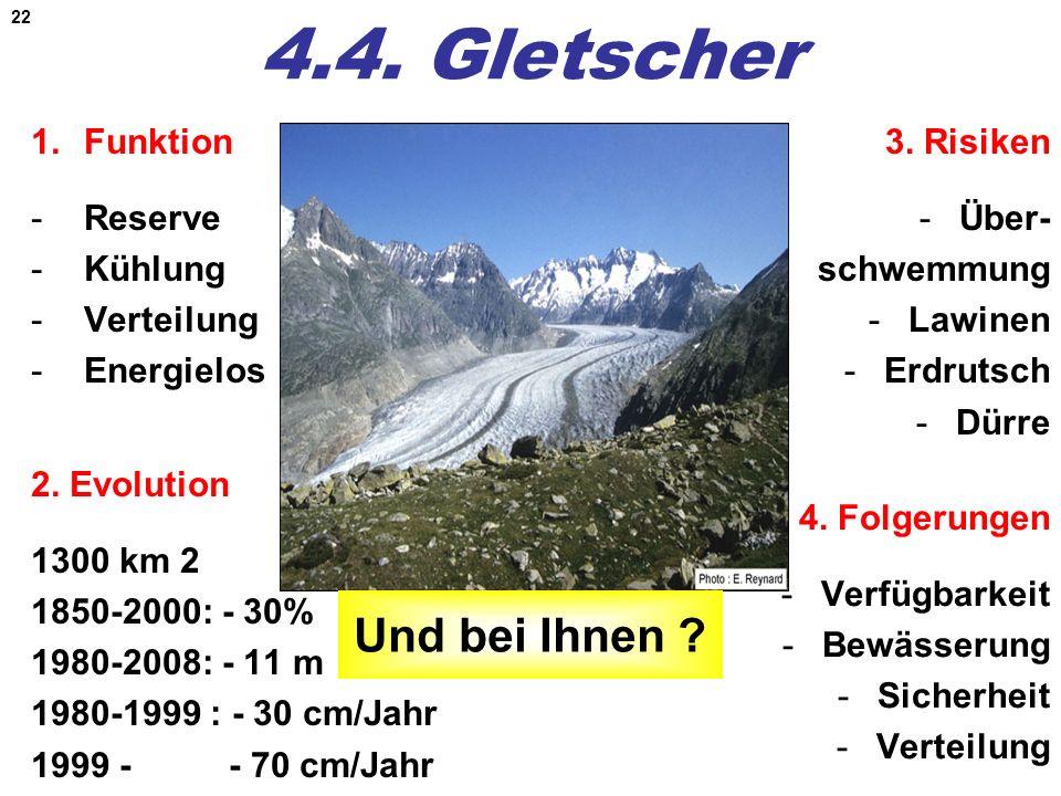 22 4.4. Gletscher 1.Funktion -Reserve -Kühlung -Verteilung -Energielos 2. Evolution 1300 km 2 1850-2000: - 30% 1980-2008: - 11 m 1980-1999 : - 30 cm/J