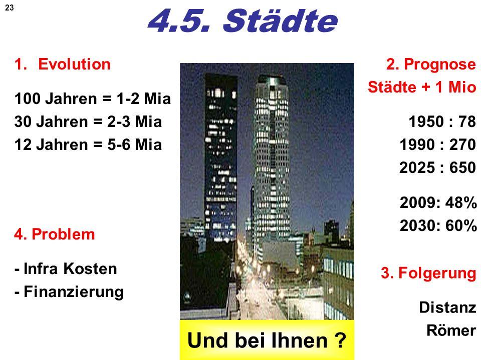 23 4.5. Städte 1.Evolution 100 Jahren = 1-2 Mia 30 Jahren = 2-3 Mia 12 Jahren = 5-6 Mia 4. Problem - Infra Kosten - Finanzierung 2. Prognose Städte +